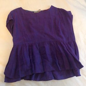 Purple loose linen top from Anthropologie